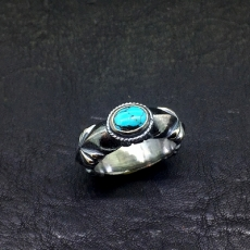 Sandcast Ring with Turquoise (...